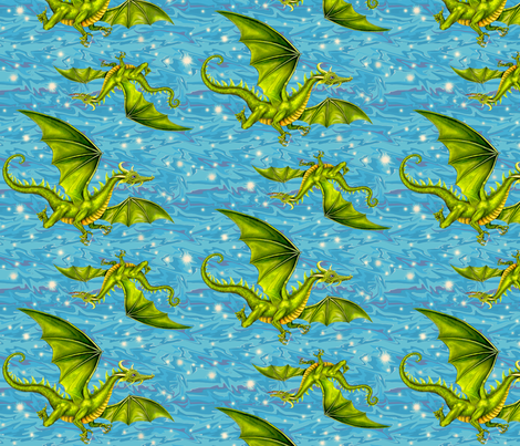 green_dragons_2 fabric by needlesongs on Spoonflower - custom fabric