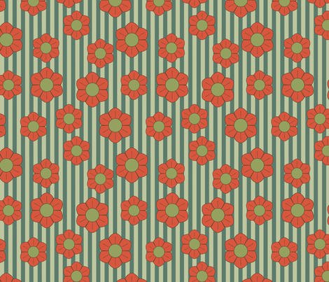 red green retro flowers fabric by suziedesign on Spoonflower - custom fabric
