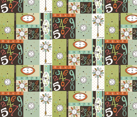 Retro_clocks_and_Numbers fabric by cynthiafrenette on Spoonflower - custom fabric