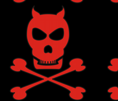 Devil_Pirate_13x13_dark fabric by moonduster on Spoonflower - custom fabric