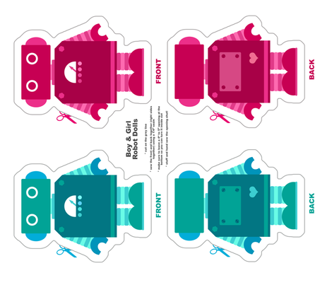 Robot Dolls - Teal and Magenta fabric by jesseesuem on Spoonflower - custom fabric