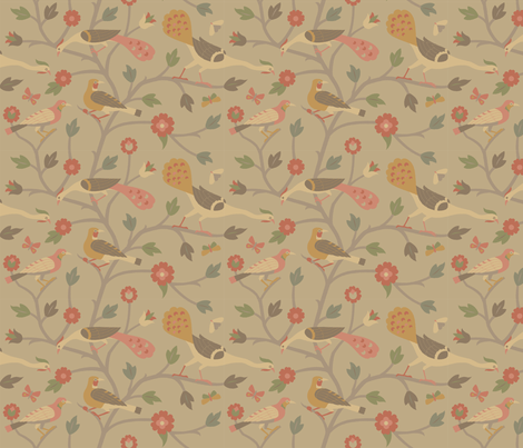 Persian Birds 613a fabric by muhlenkott on Spoonflower - custom fabric