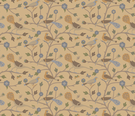 Persian Birds 613c fabric by muhlenkott on Spoonflower - custom fabric