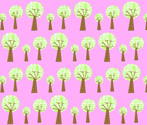 Pink Damask Trees fabric by petunias on Spoonflower - custom fabric