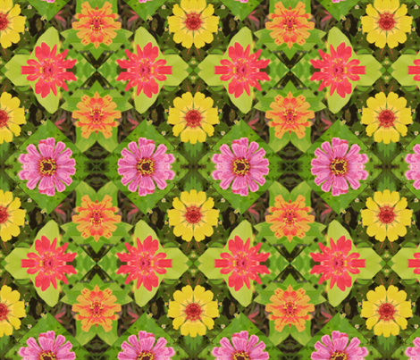 4_zinnias_45_poster_Picnik_collage fabric by khowardquilts on Spoonflower - custom fabric