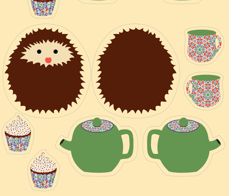 hedgie doll kit fabric by vo_aka_virginiao on Spoonflower - custom fabric