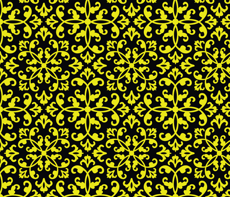 Contessa Damask - Mellow Yellow fabric by pixeldust on Spoonflower - custom fabric