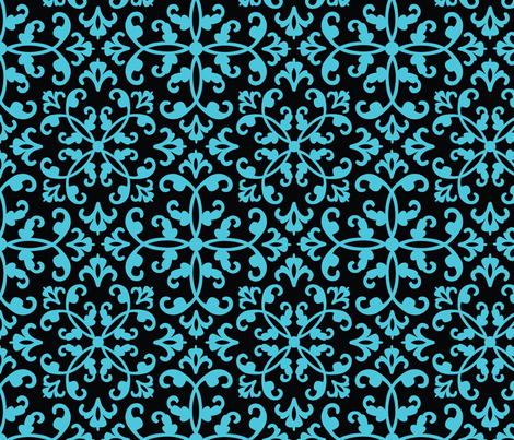 Contessa Damask - Blue Sonata fabric by pixeldust on Spoonflower - custom fabric