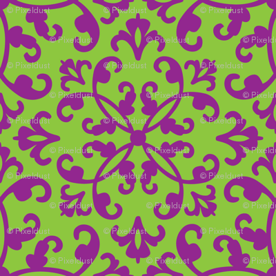 Contessa Damask - Lime on Parade