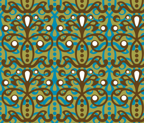 givingtree - cyan rain fabric by pixeldust on Spoonflower - custom fabric