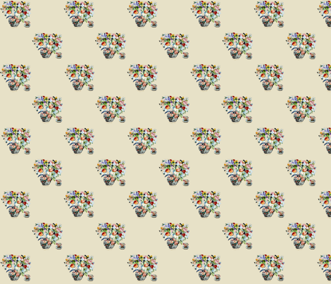 Tulip Tea Checker Companion fabric by karenharveycox on Spoonflower - custom fabric