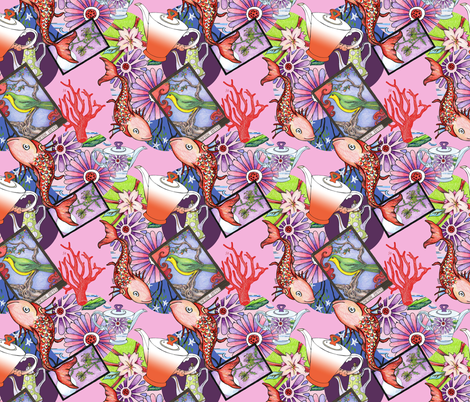 Koi Teapots fabric by giltgoods on Spoonflower - custom fabric