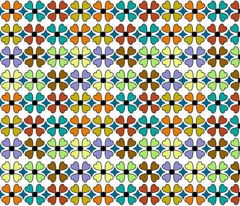 Retro Flowers white background fabric by vickijenkinsart on Spoonflower - custom fabric