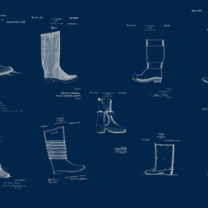 Vintage Printable Boots Design Patent Pattern (Green and White)-ch
