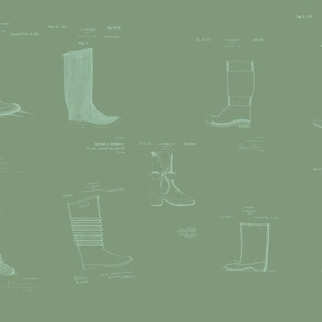 Vintage Printable Boots Design Patent Pattern (Gray green)