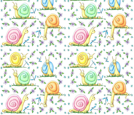 Pastel Snails Large Repeat fabric by vickijenkinsart on Spoonflower - custom fabric