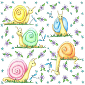 Pastel Snails Large Repeat