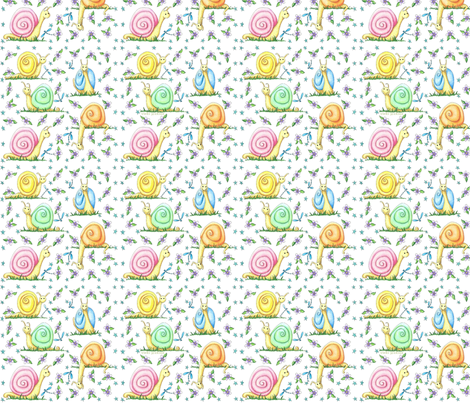 Pastel Snails Small Repeat fabric by vickijenkinsart on Spoonflower - custom fabric