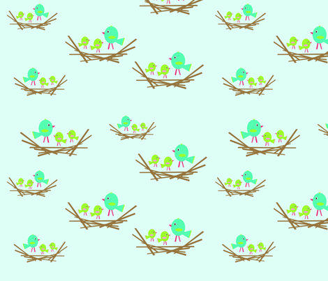bird_nest_multi_blues_copy fabric by petunias on Spoonflower - custom fabric