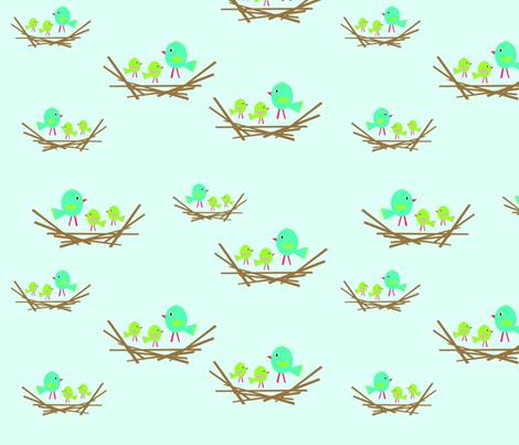 bird_nest_multi_blues_copy fabric by petunias on Spoonflower - custom fabric