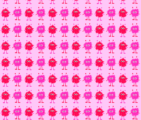 3_monsters_-_pink fabric by petunias on Spoonflower - custom fabric
