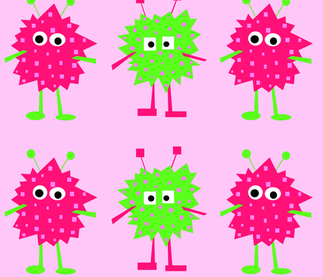 3_monsters_-_pink_and_green fabric by petunias on Spoonflower - custom fabric