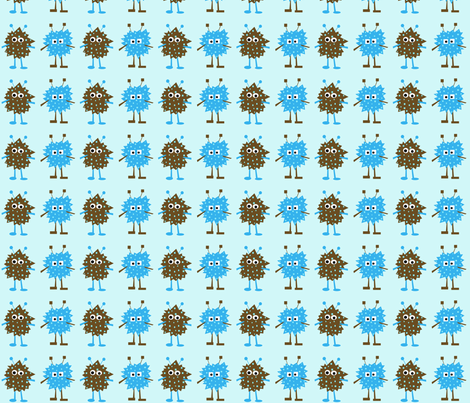 3_monsters_-_blue_brown fabric by petunias on Spoonflower - custom fabric