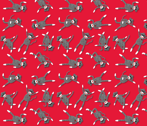 sock monkey red party! fabric by vo_aka_virginiao on Spoonflower - custom fabric