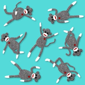 sock monkey teal party!