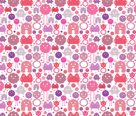 Monsters On the Loose - Smaller - Girl (white background) fabric by jesseesuem on Spoonflower - custom fabric