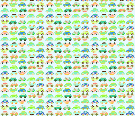 patchwork_cars_final_-_flatten fabric by petunias on Spoonflower - custom fabric