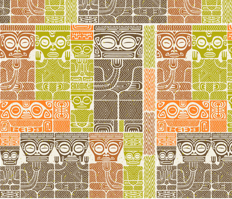 Tikis 1c fabric by muhlenkott on Spoonflower - custom fabric