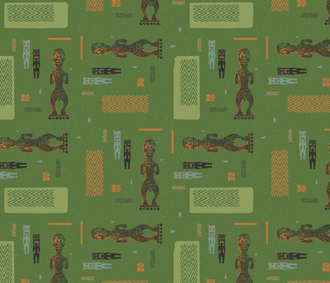 Tikis 3b fabric by muhlenkott on Spoonflower - custom fabric