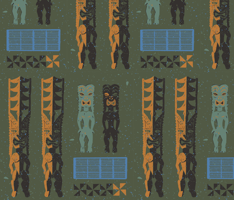 Tikis 4b fabric by muhlenkott on Spoonflower - custom fabric