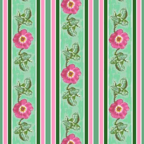 pink_single_rose_leaves_edit_stripe_Picnik_collage_preview-ch fabric by khowardquilts on Spoonflower - custom fabric