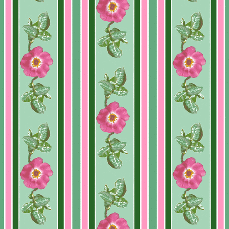 pink_single_rose_leaves_edit_stripe_Picnik_collage_preview-ch-ch-ch fabric by khowardquilts on Spoonflower - custom fabric