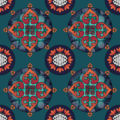Gothic Pasifika: Fleur-de-lis Teal fabric by jessicasoon on Spoonflower - custom fabric