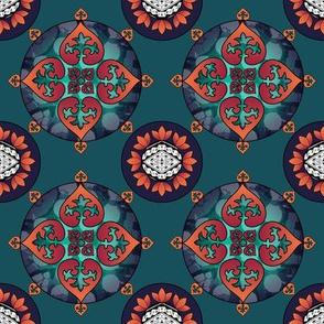 Gothic Pasifika: Fleur-de-lis - Teal