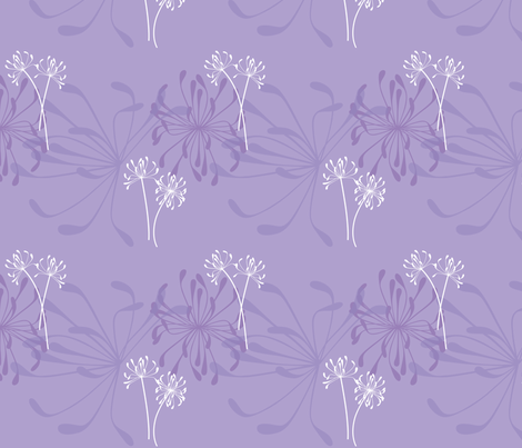 Agapanthus Mauve fabric by thickblackoutline on Spoonflower - custom fabric