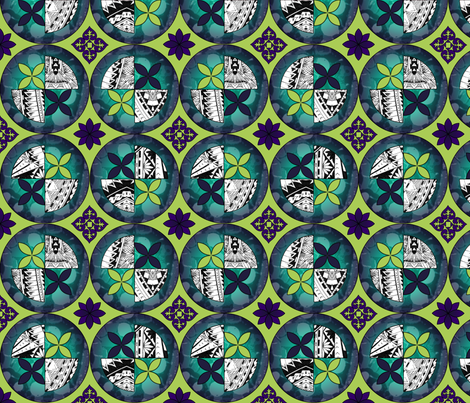 Gothic Pasifika: Laguna Chartreuse fabric by jessicasoon on Spoonflower - custom fabric
