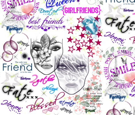 Friendship Collage fabric by art_to_fabric on Spoonflower - custom fabric
