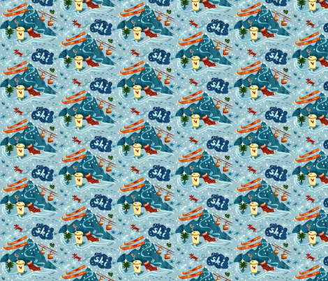 Ski + Coffee + Fox fabric by chesirella on Spoonflower - custom fabric