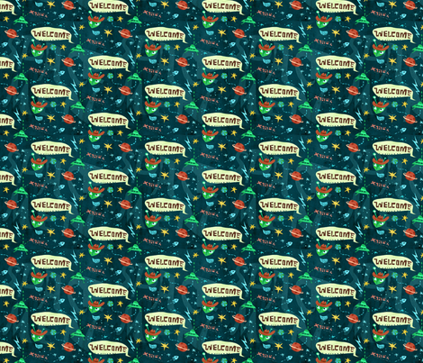 Aliens Welcome! fabric by chesirella on Spoonflower - custom fabric