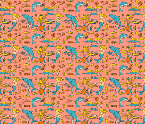 Fish Pink fabric by laurawilson on Spoonflower - custom fabric