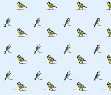 blue titmouse fabric by mirthquake on Spoonflower - custom fabric