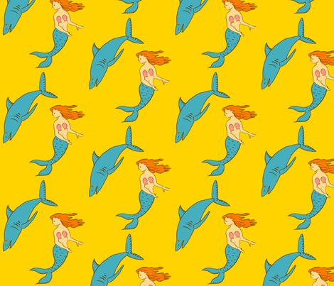 mermaid shark gold fabric by laurawilson on Spoonflower - custom fabric