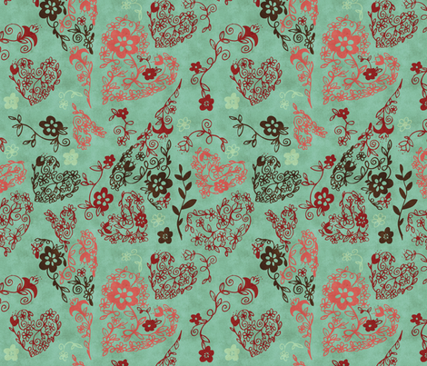 Love, Blue fabric by natalie on Spoonflower - custom fabric