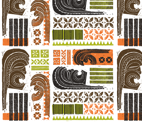 Hawaiian Tikis 1  fabric by muhlenkott on Spoonflower - custom fabric