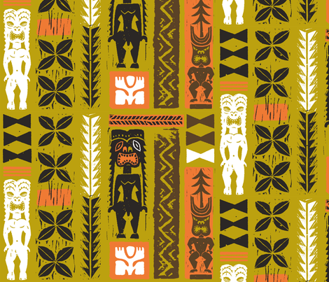 Hawaiian Tikis 3a fabric by muhlenkott on Spoonflower - custom fabric