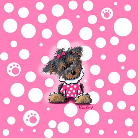 Girlie Girl Yorkie fabric by kiniart on Spoonflower - custom fabric